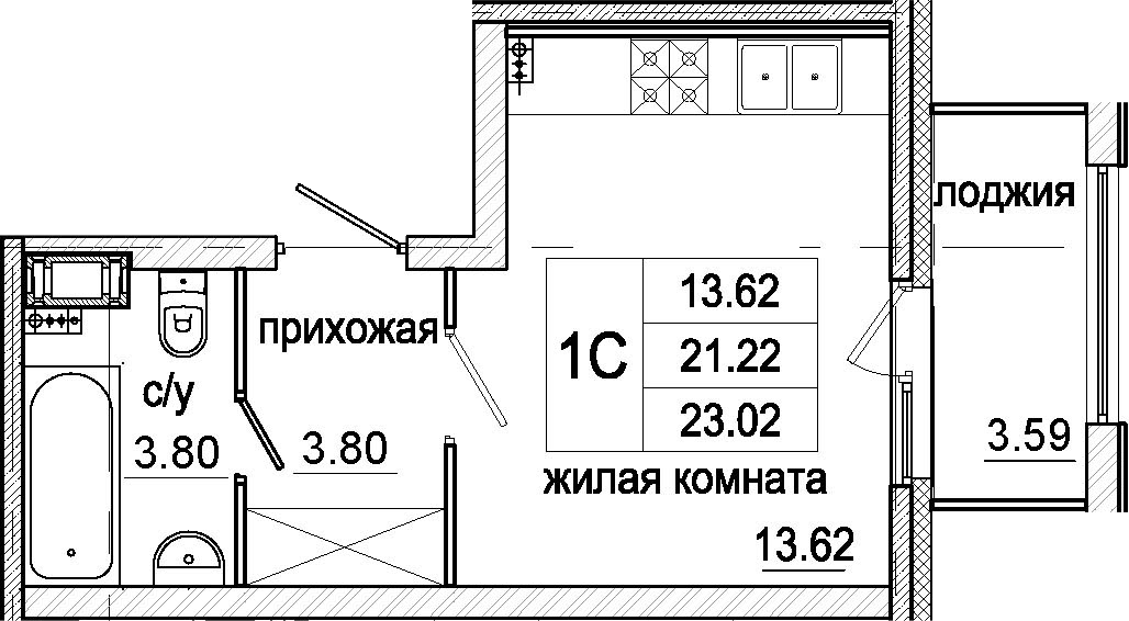 Студия, 23.02 м²– 2