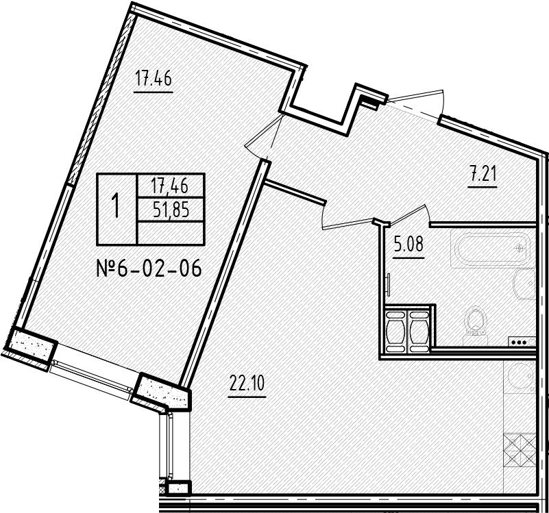 2-к.кв (евро), 51.85 м²