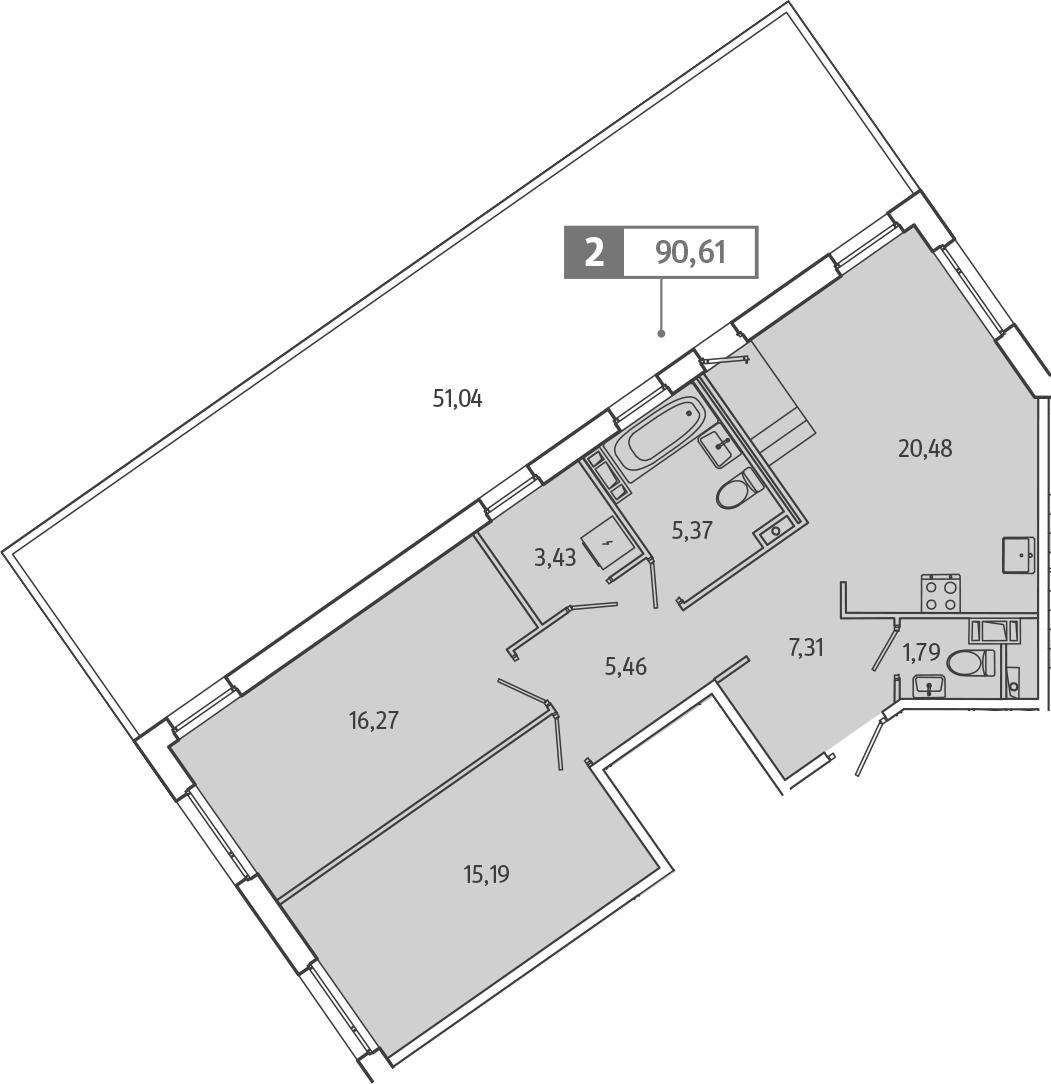 3Е-к.кв, 90.61 м², 5 этаж