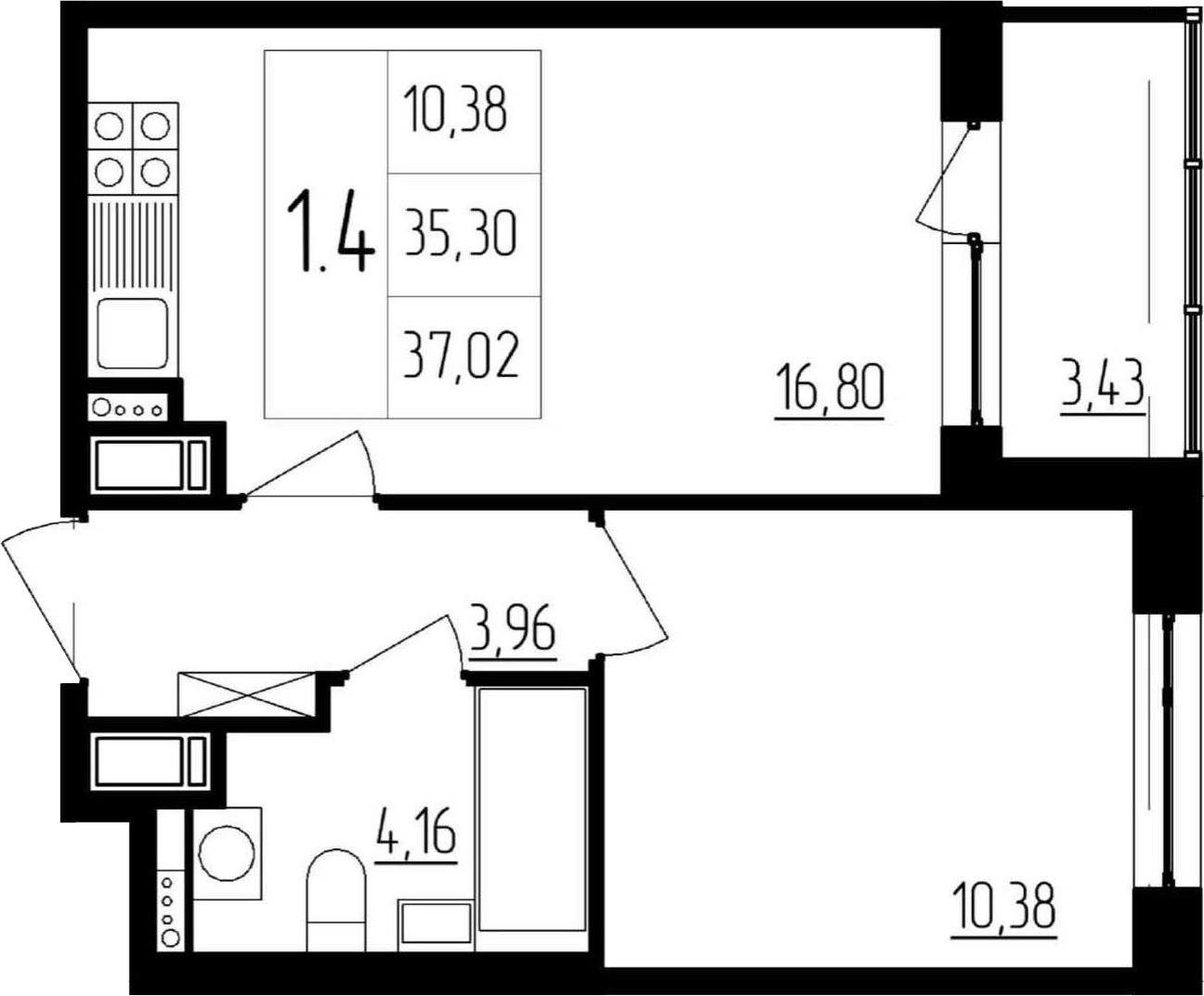 2Е-комнатная, 35.3 м²– 2