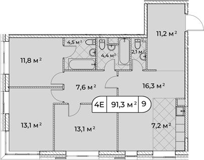4Е-комнатная, 91.4 м²– 2