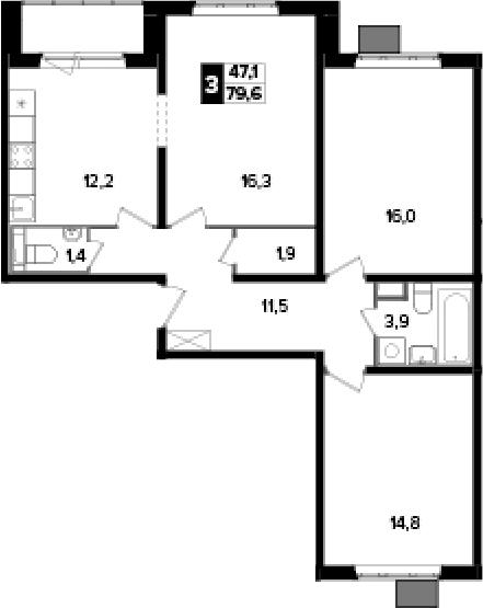 3-комнатная, 79.6 м²– 2