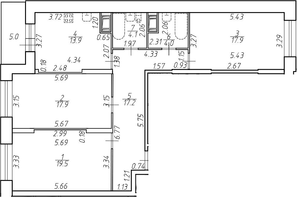 3-к.кв, 94.5 м²