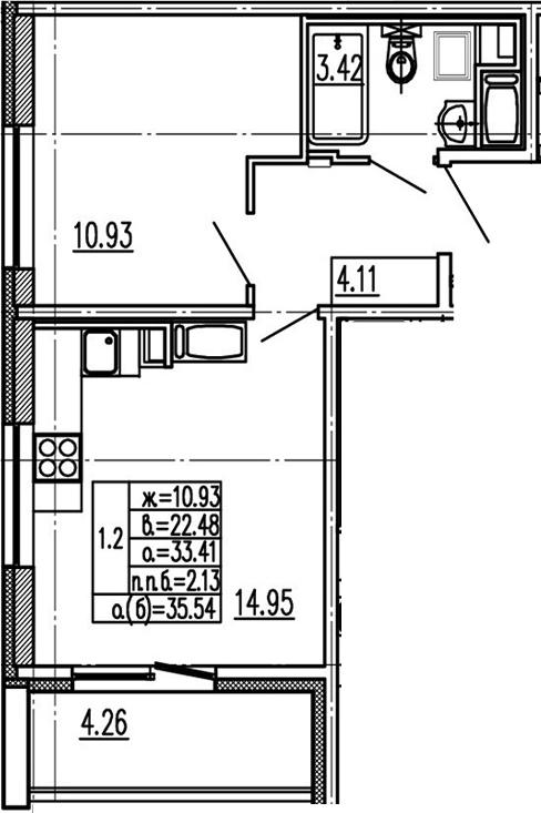 2Е-к.кв, 33.41 м², 9 этаж