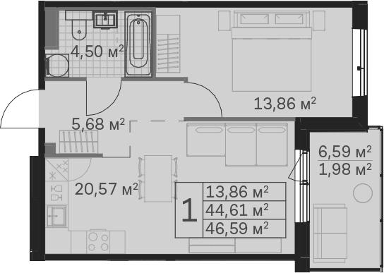 2Е-к.кв, 46.59 м²