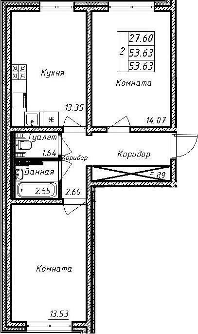 2-комнатная, 53.63 м²– 2