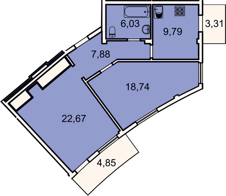 2-к.кв, 67.6 м², 2 этаж