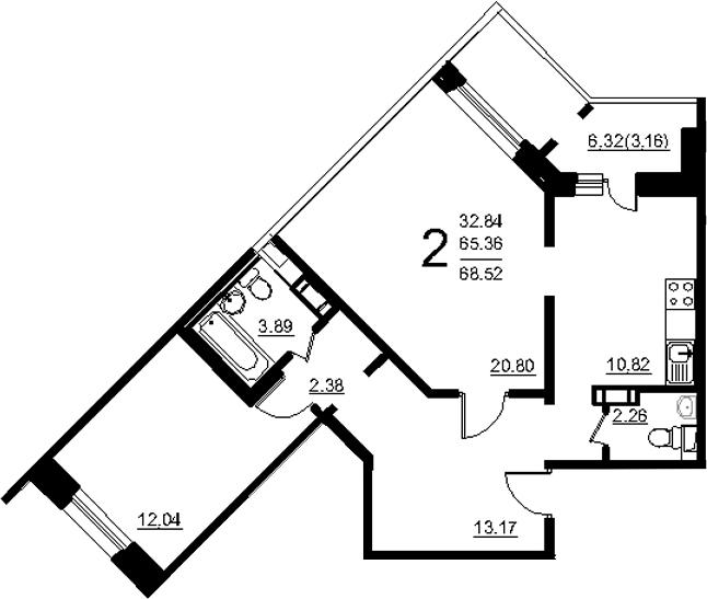 2-к.кв, 71.68 м²