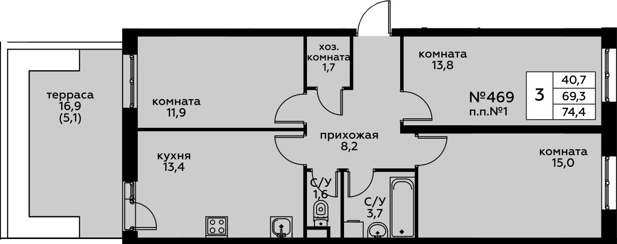 3-к.кв, 74.4 м²