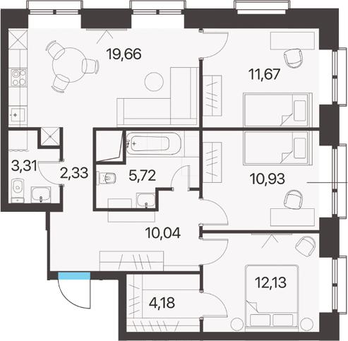 3-к.кв, 79.97 м², 4 этаж