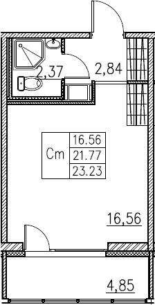 Студия, 23.23 м²– 2