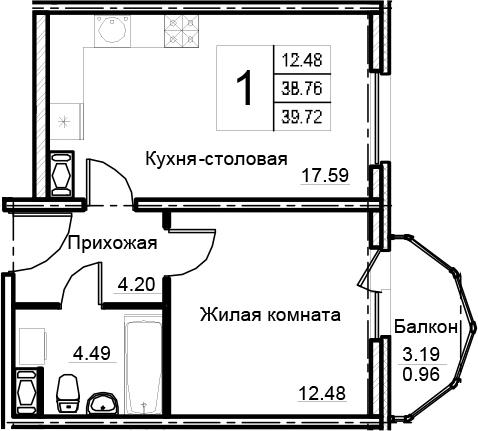 2Е-к.кв, 39.72 м²