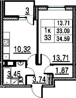 1-к.кв, 33.09 м²