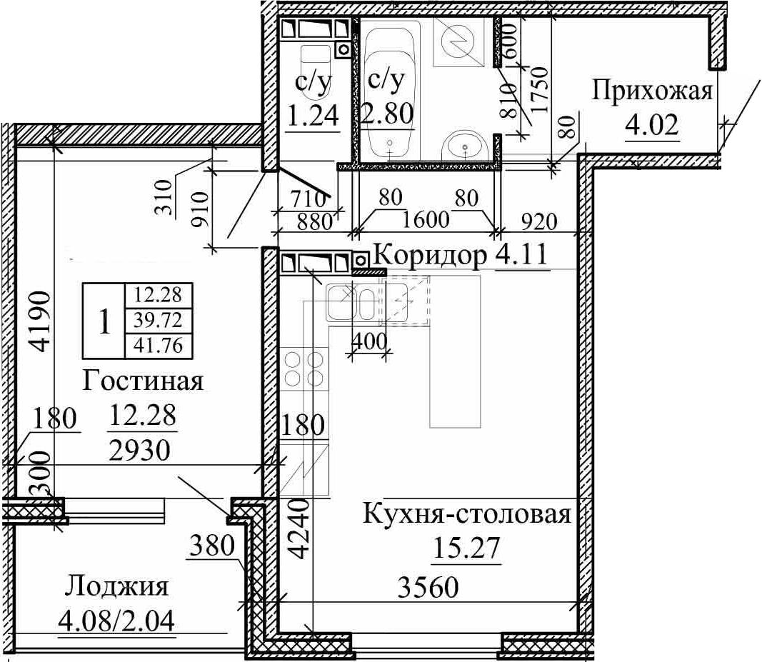 2Е-комнатная, 41.76 м²– 2