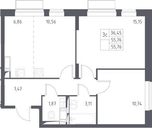 3Е-к.кв, 55.76 м², 23 этаж