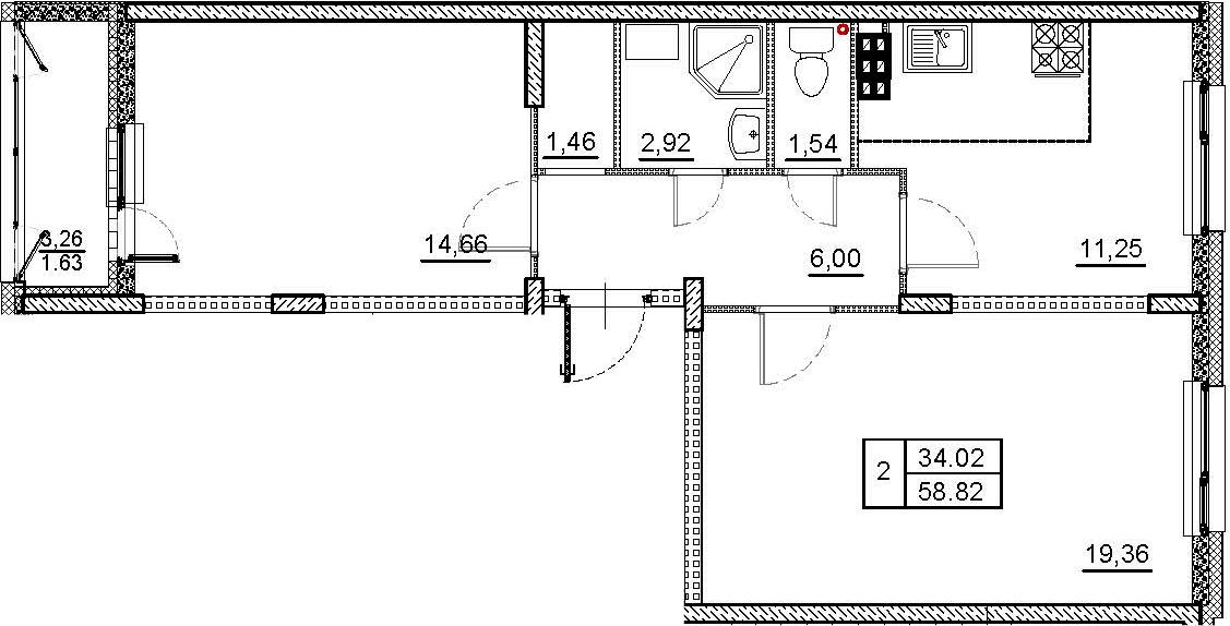 2-комнатная, 58.82 м²– 2