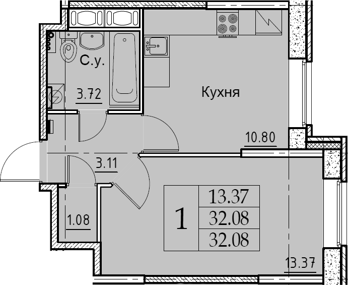 1-к.кв, 32.08 м², 1 этаж