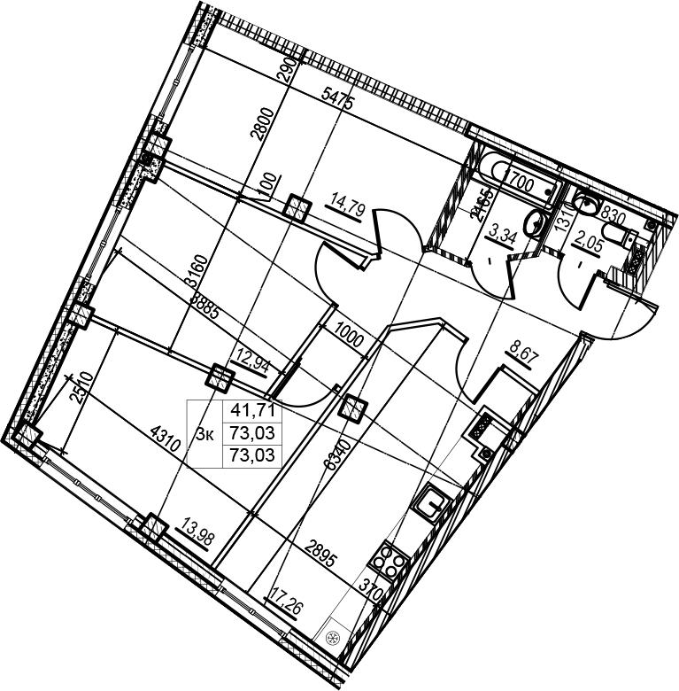 4-к.кв (евро), 73.03 м²