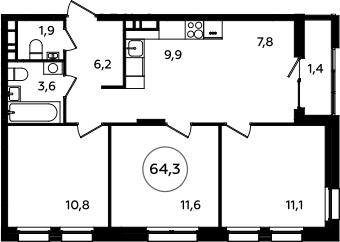 4Е-комнатная, 64.3 м²– 2