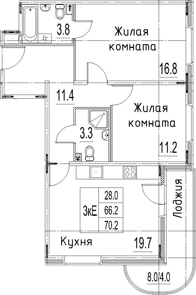 3Е-к.кв, 70.2 м²