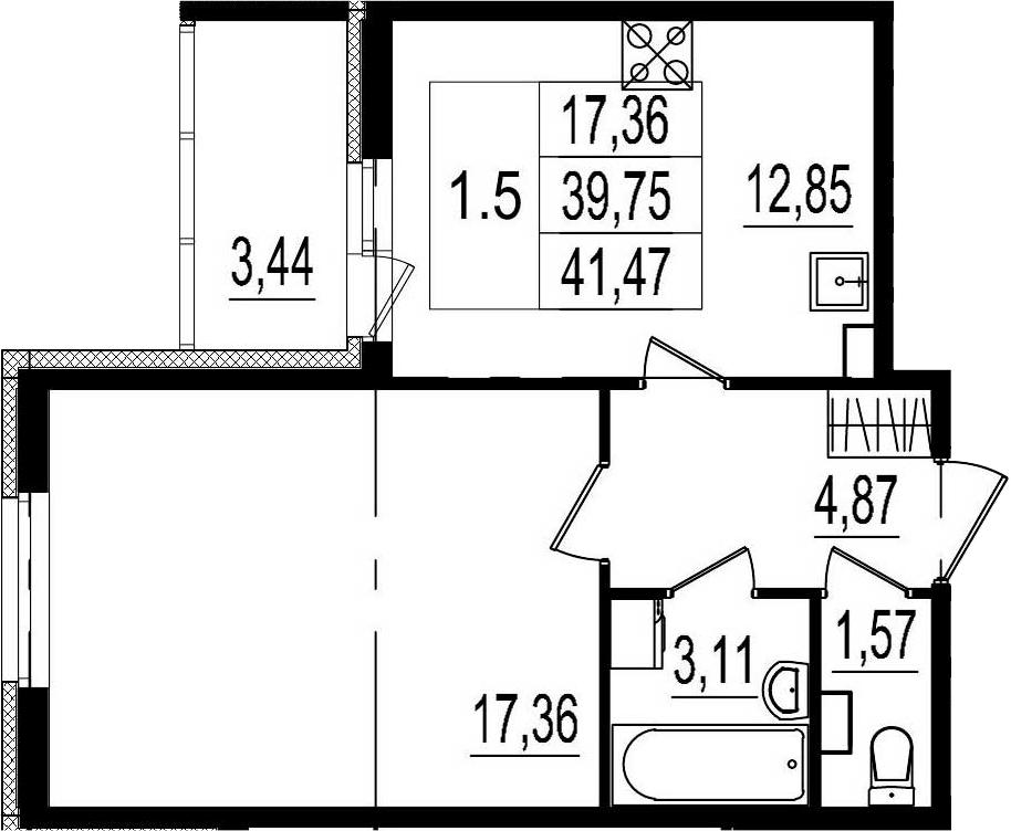 1-комнатная, 39.76 м²– 2