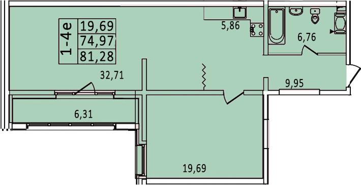 2-к.кв (евро), 87.59 м²