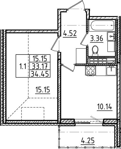 1-к.кв, 34.45 м², 5 этаж
