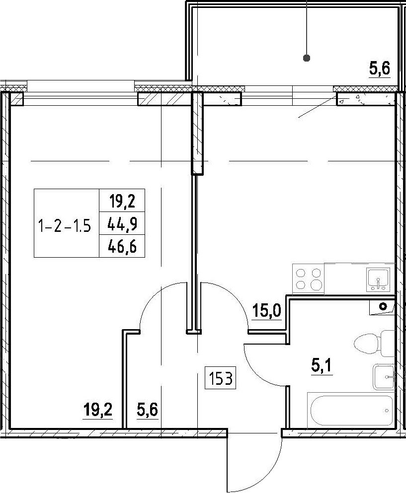 2Е-к.кв, 46.6 м², 1 этаж