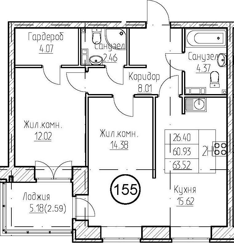 2-к.кв, 66.11 м²