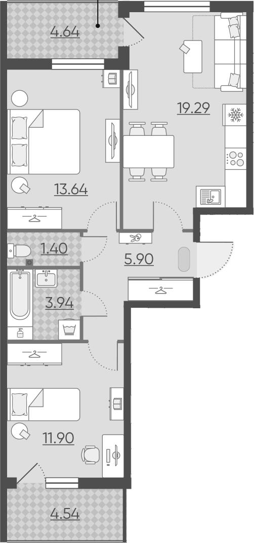 3-к.кв (евро), 65.25 м²