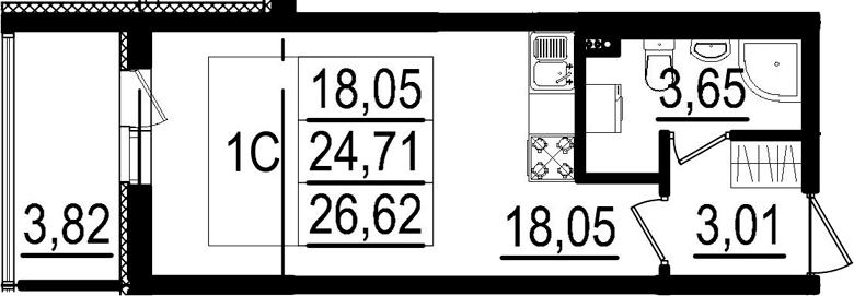 Студия, 28.53 м²