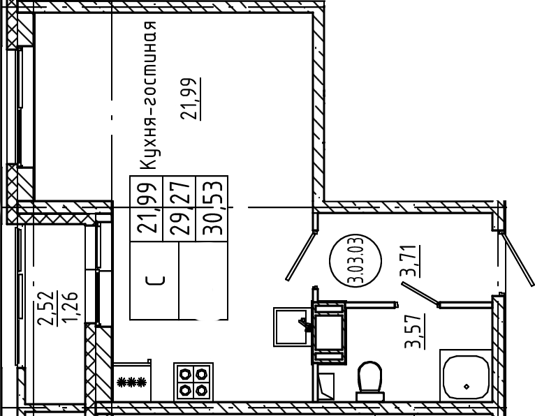 Студия, 30.53 м²– 2