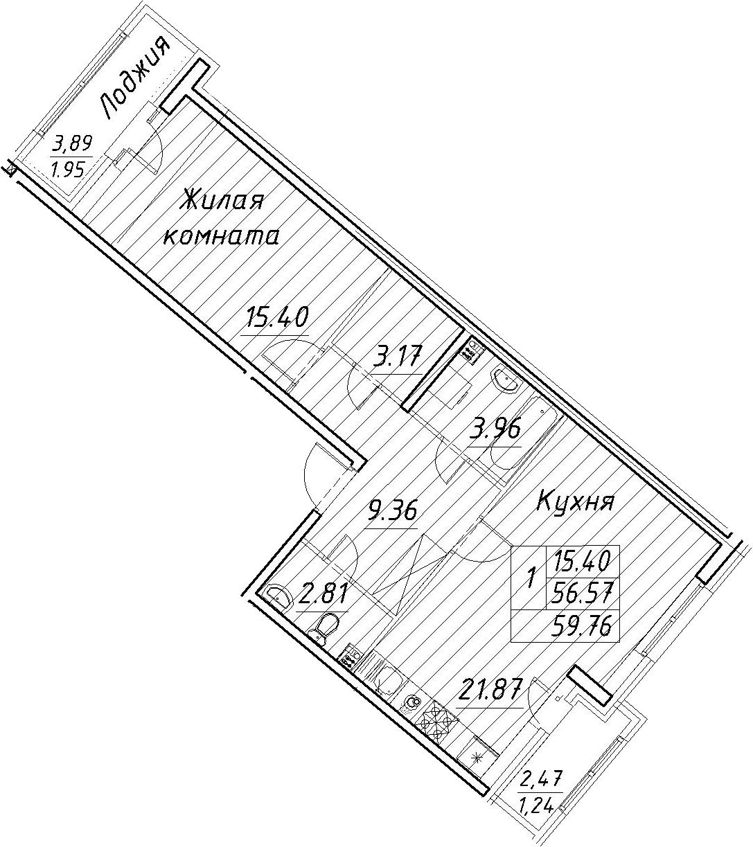 2-к.кв (евро), 62.95 м²