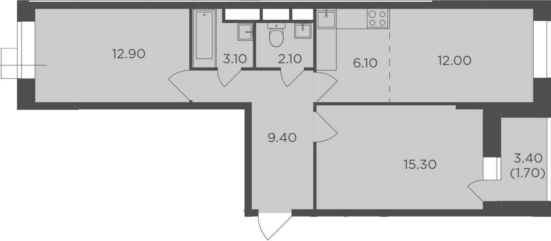 3Е-к.кв, 62.6 м², от 3 этажа