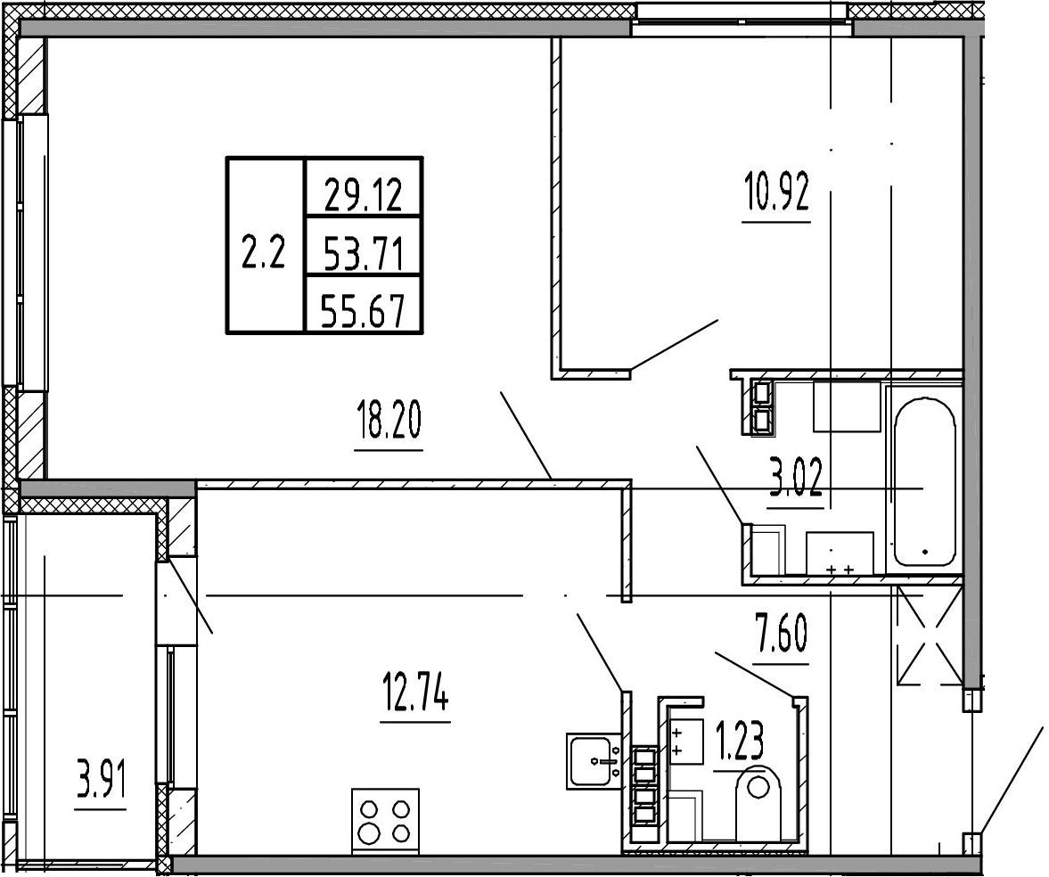 2-к.кв, 53.71 м²