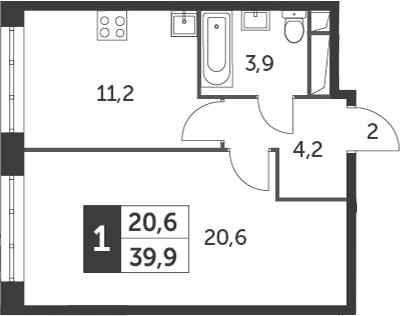 1-комнатная, 39.9 м²– 2