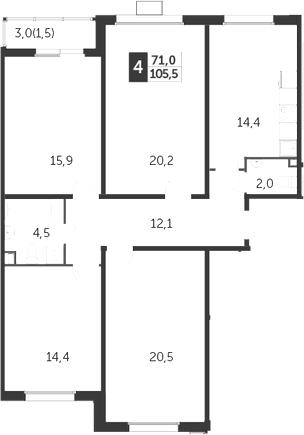 4-к.кв, 105.5 м²