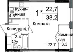 Студия, 38.2 м²– 2