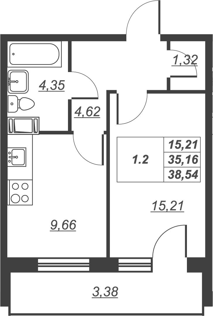 1-комнатная, 38.54 м²– 2