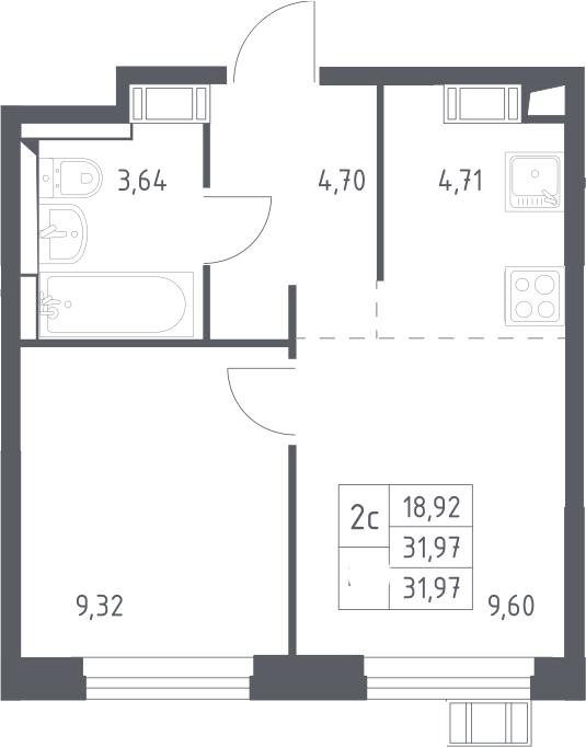 2Е-к.кв, 31.97 м², от 12 этажа