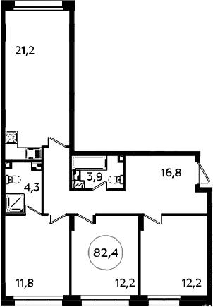 4-к.кв (евро), 82.4 м²