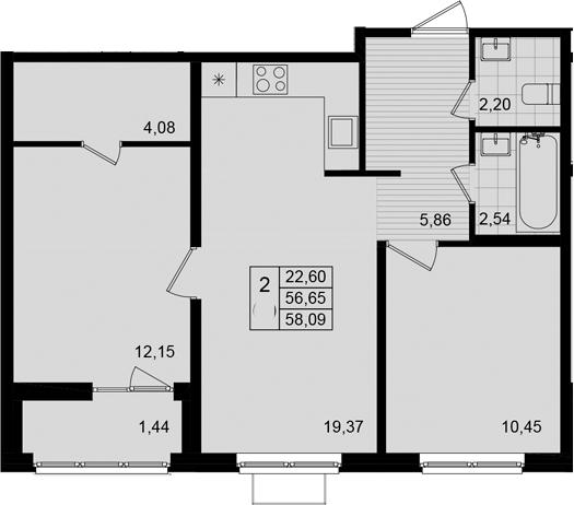 3Е-к.кв, 58.09 м²