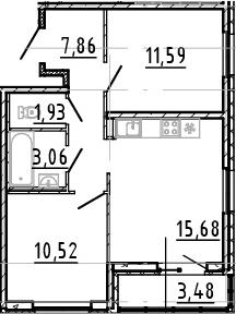 3Е-комнатная, 50.64 м²– 2