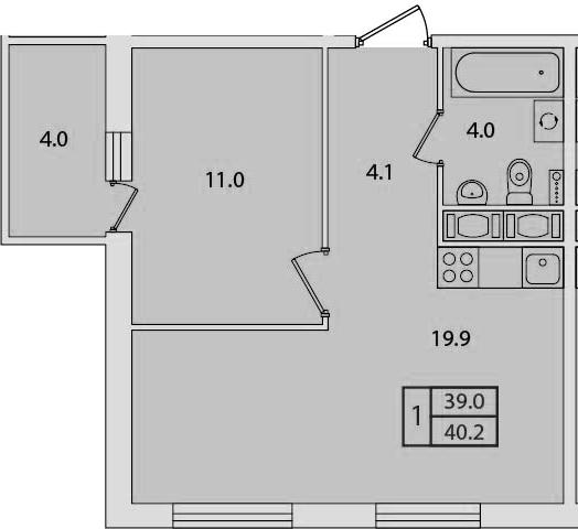 2-к.кв (евро), 43 м²