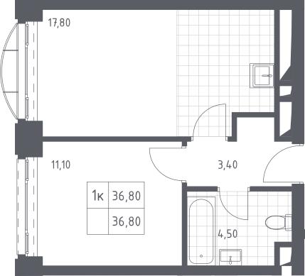 2-к.кв (евро), 36.8 м²