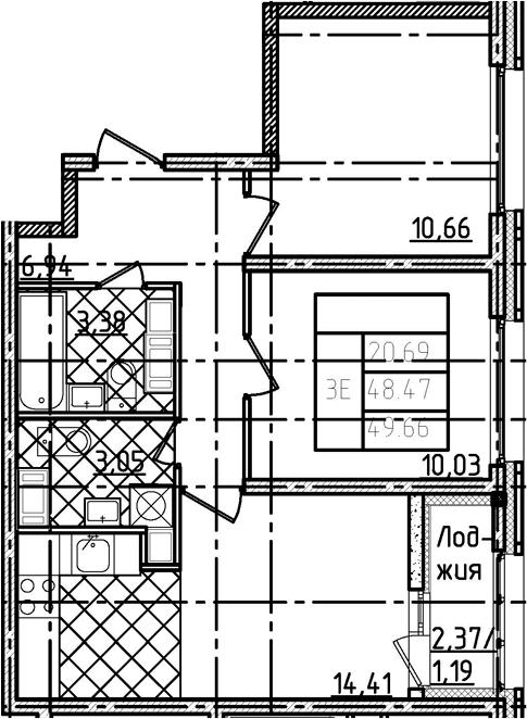 3Е-к.кв, 49.66 м²
