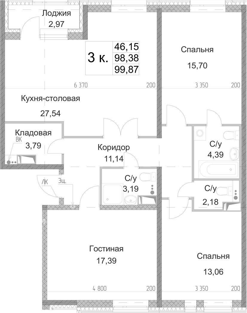 3-к.кв, 99.87 м², 9 этаж