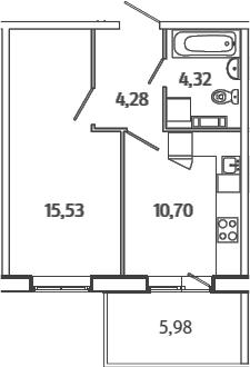 1-к.кв, 36.62 м², от 3 этажа