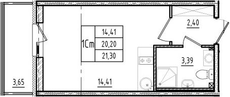 Студия, 23.85 м²