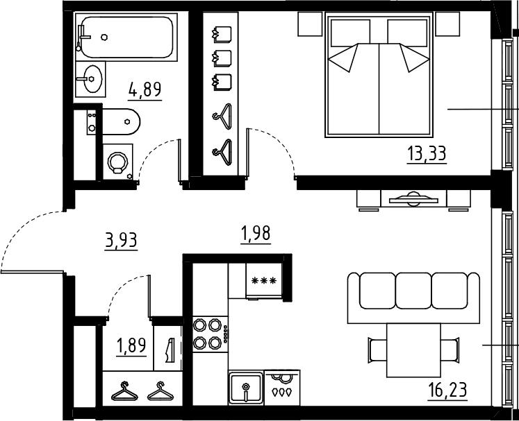 2Е-к.кв, 42.25 м², 2 этаж
